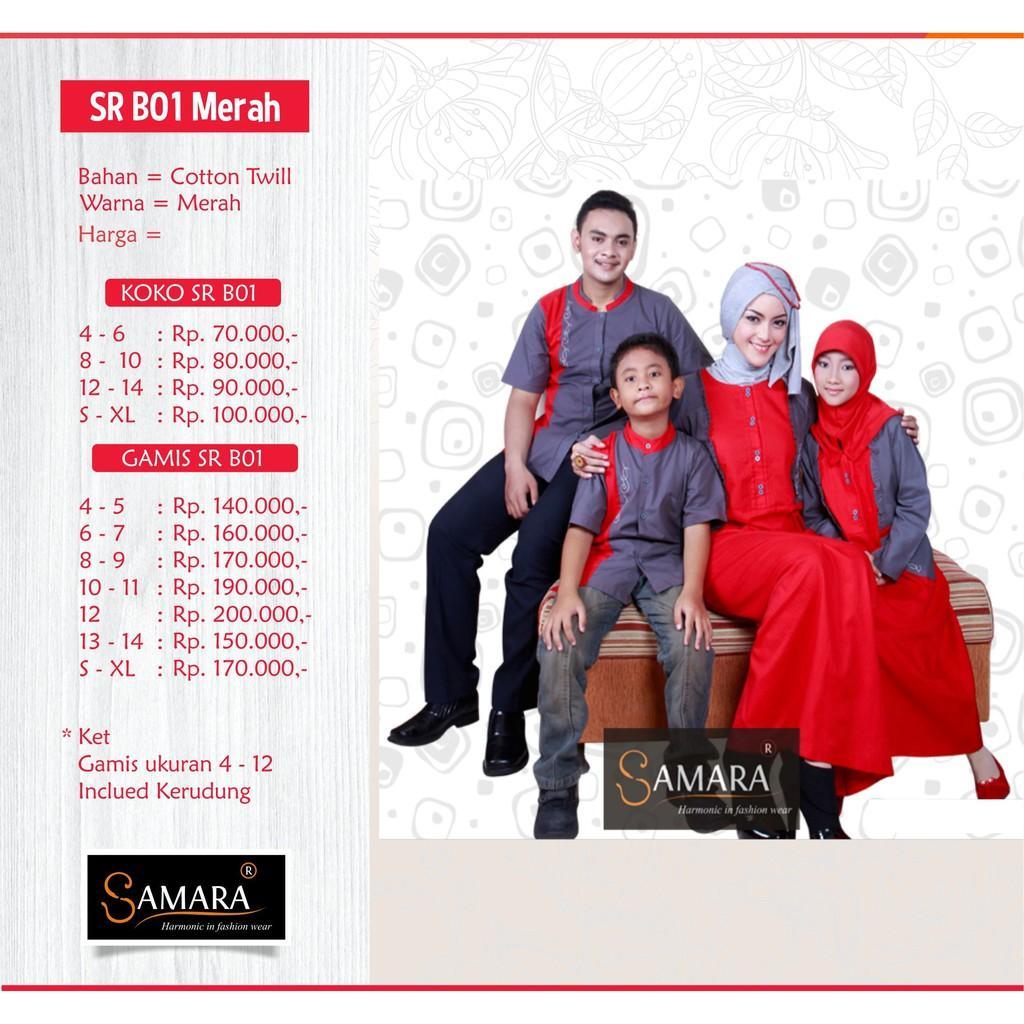 Baju Couple Keluarga Busana Muslim Sarimbit Gamis Syari Koko Pria Anak Wanita Lebaran / SR.B01 Merah Gamis Anak 12