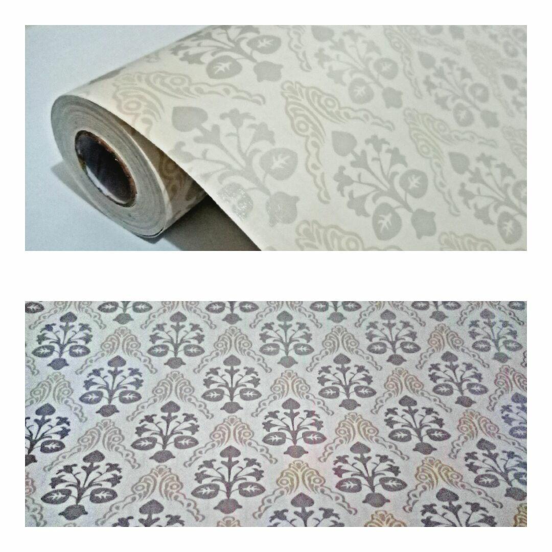 Promo murah wallpaper sticker dinding batik klasik modern abu abu muda