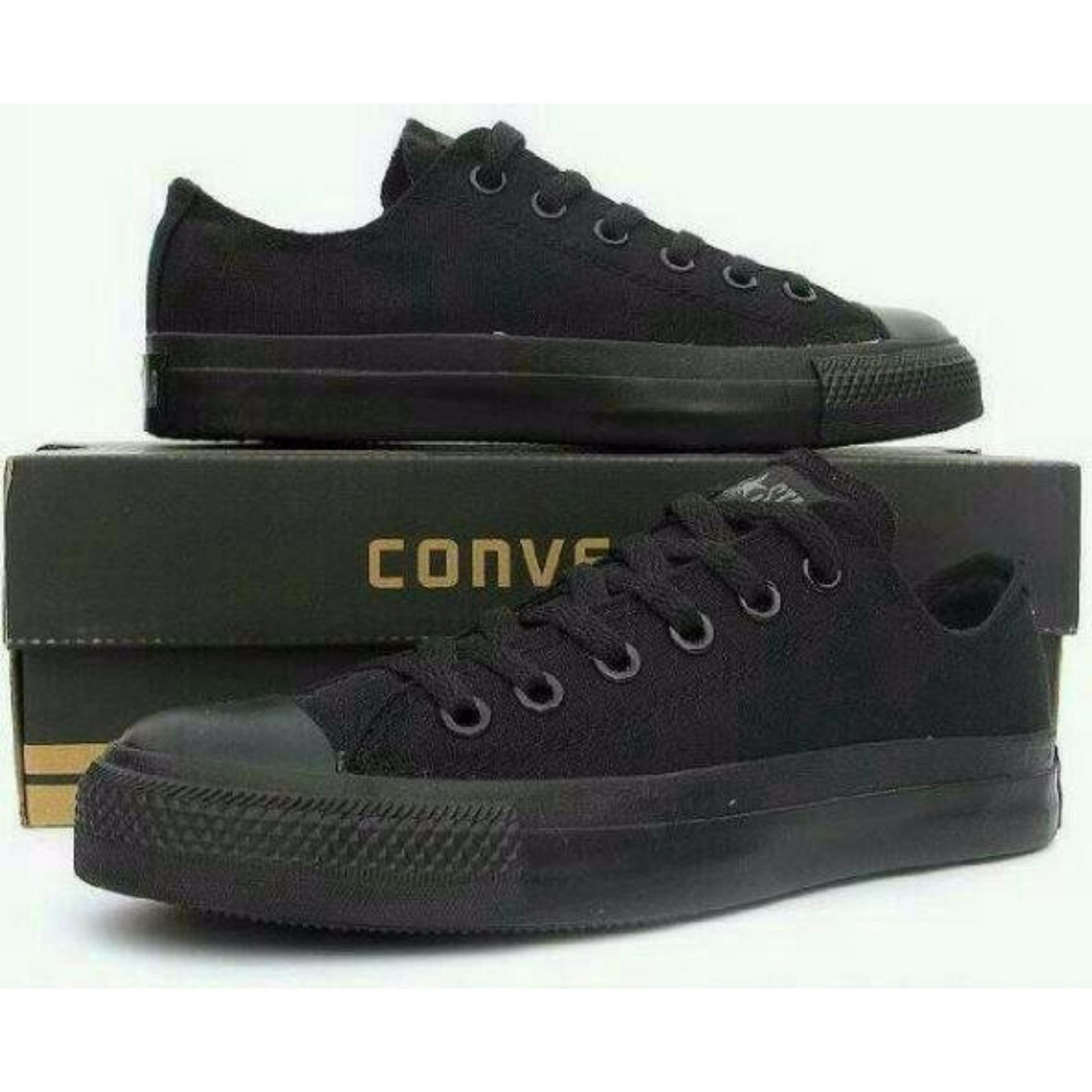 Sepatu Casual Harian Sekolah Kuliah Converse Allstar CT Mono Full Black Hitam Low Pria Wanita Couple