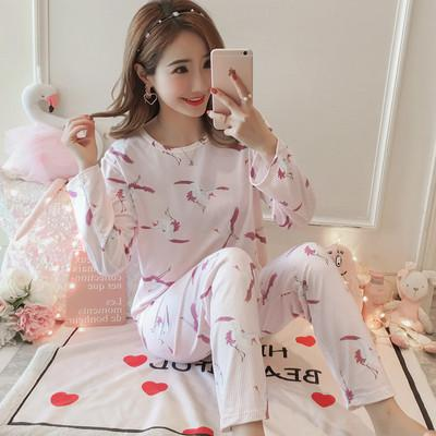 5ea914ca5984 Long Sleeve Pajamas Female Pure Cotton Spring And Autumn Korean Style Can  Outer Wear Plus-