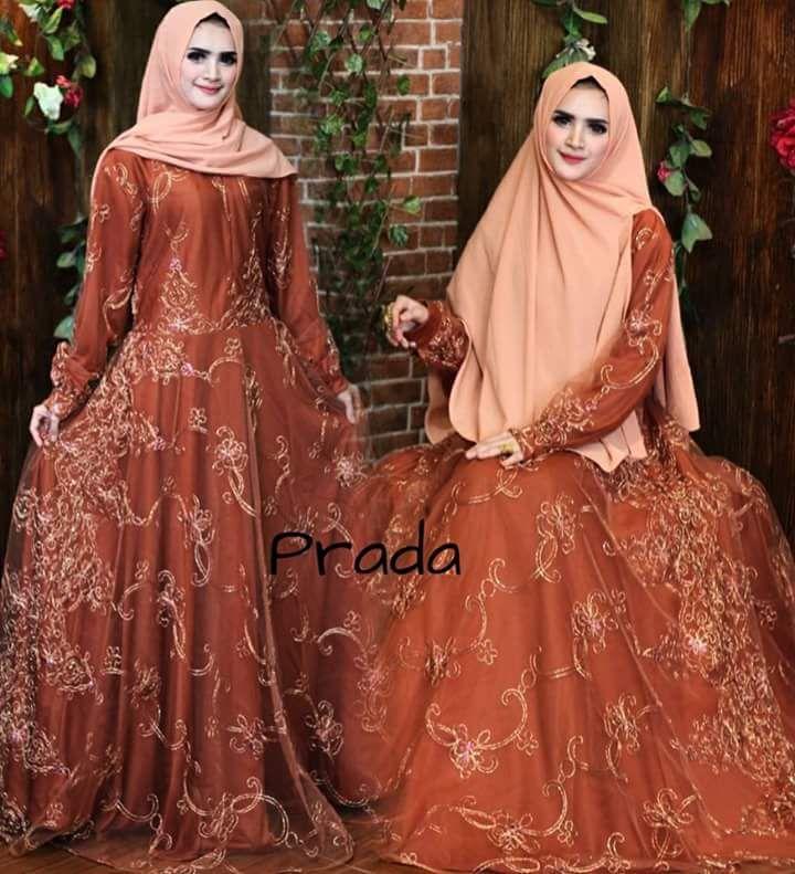 Butik Aisyah Baju Wanita Gaun Dress Gamis Bruklat Pesta Mewah Syari Busui fit XL dan Free Hijab
