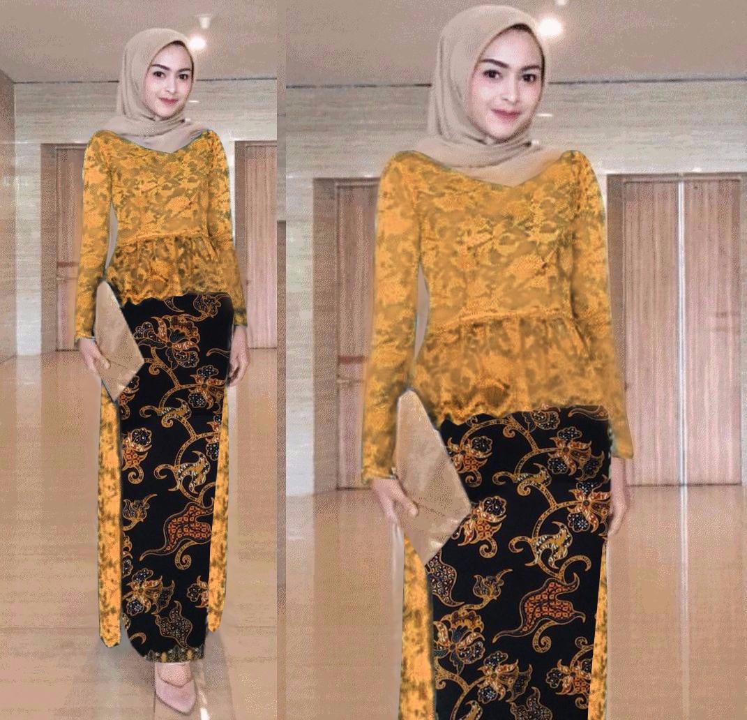 AK - Beauty 2in1 Kebaya Fenti motif anggrek/Paya/Lily/Turkis/ Atasan Brukat/Rok Panjang Batik/Kebaya Muslim/Baju Pesta Besty Quality Akiko Fashion
