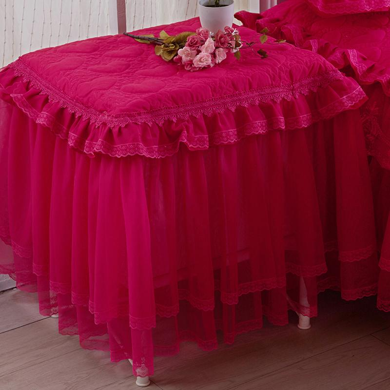 Padded Thick Lace Bedside Table Cover Dust Cover Wedding Cover gai jin Small Tablecloth Fabric