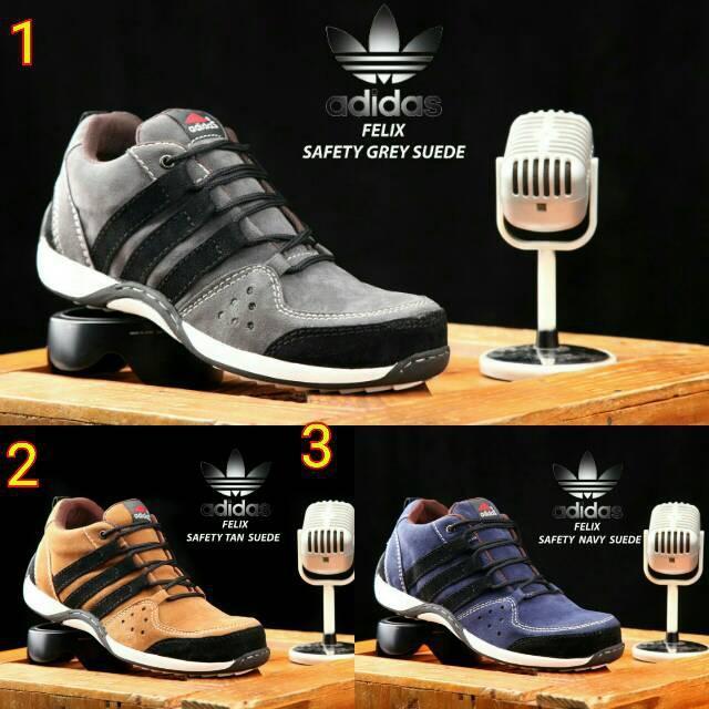 Sepatu Boots Adidas Safety Ujung Besi Gunung Tracking Low Kulit Import Sport Murah Joging Kickers