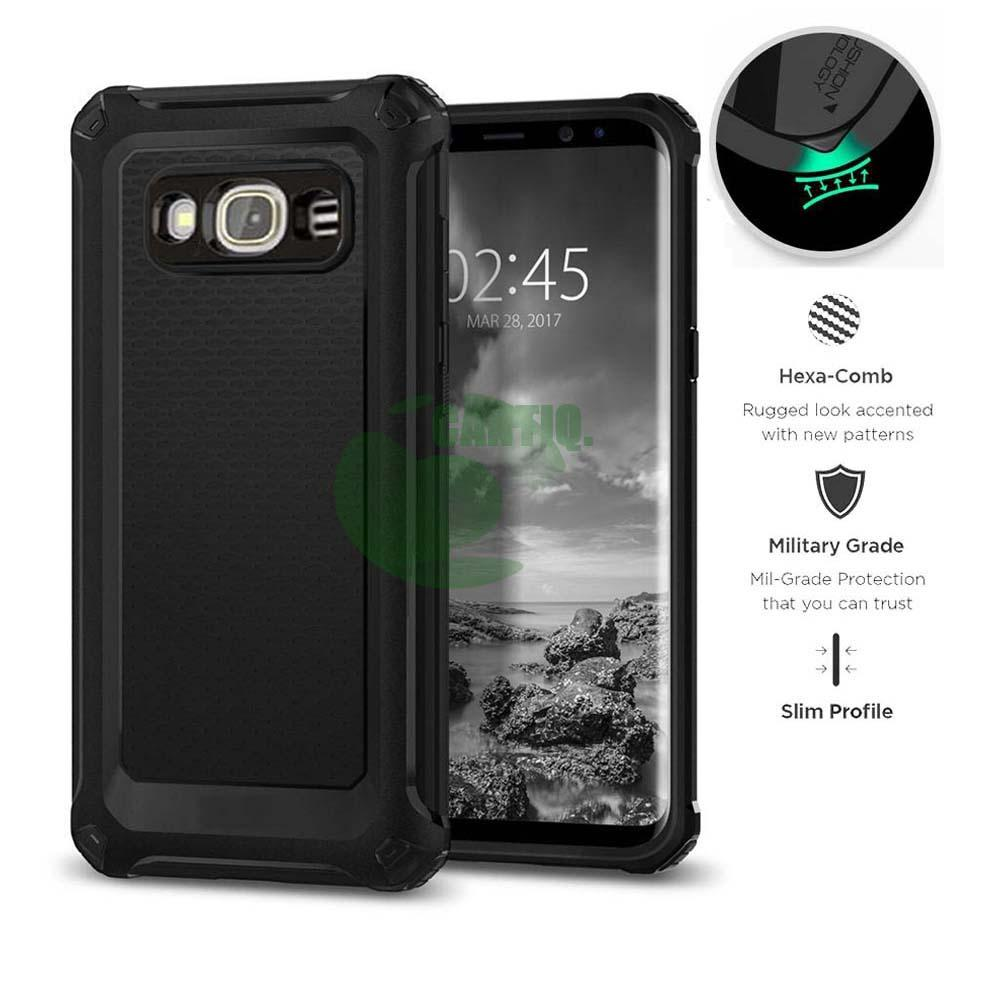 Case Rugged Ultra Capsule For Samsung Galaxy J2 Prime Hybrid Armor TPU Shockproof Anti Slip Soft Back Case / Softcase / Casing Hp - Hitam / Black