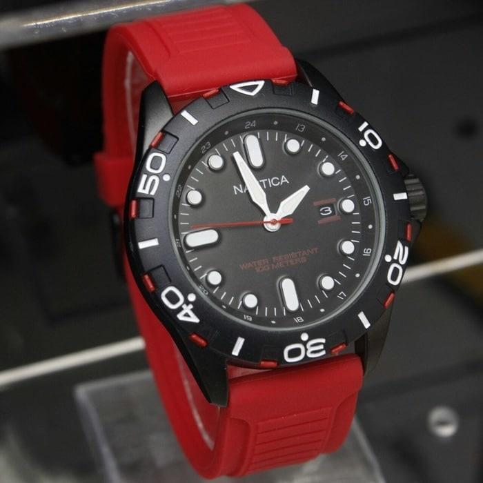 Jam Tangan Pria / Cowok Nautica SK1105 Karet Red