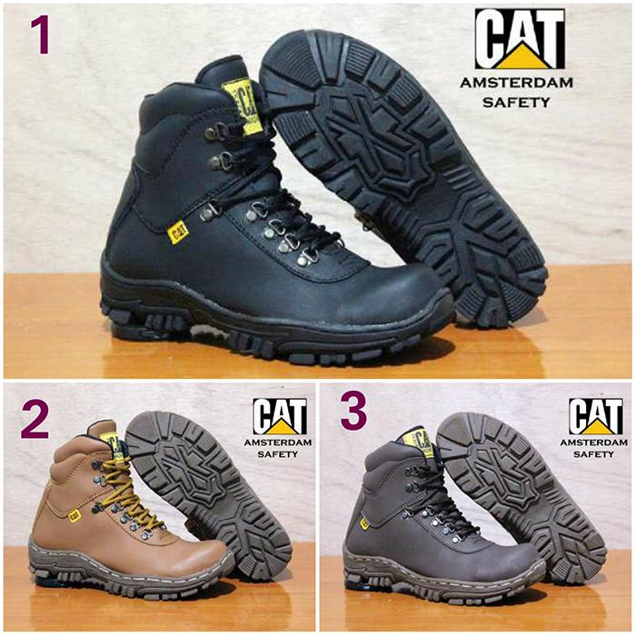 Promo sepatu boots caterpillar amsterdam safety kulit original handmade Diskon