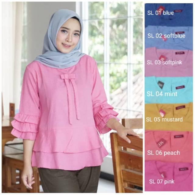 Blouse pita kekinian lengan panjang terompet katun fashion wanita muslim atasan setelan baju murah DL 07