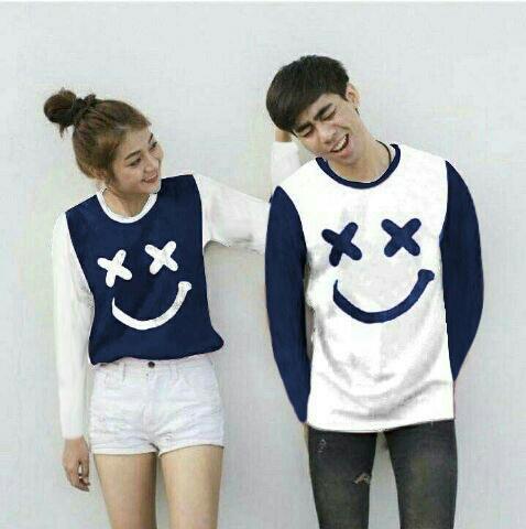 Baju Wanita Shop Kaos Couple Lengan Panjang XOXO / Long Tshirt Polos  / Sweater Couple Marshmellow / Sweater Polos / Kaos Pria Wanita BG (XOXO) - Navy PAnjang