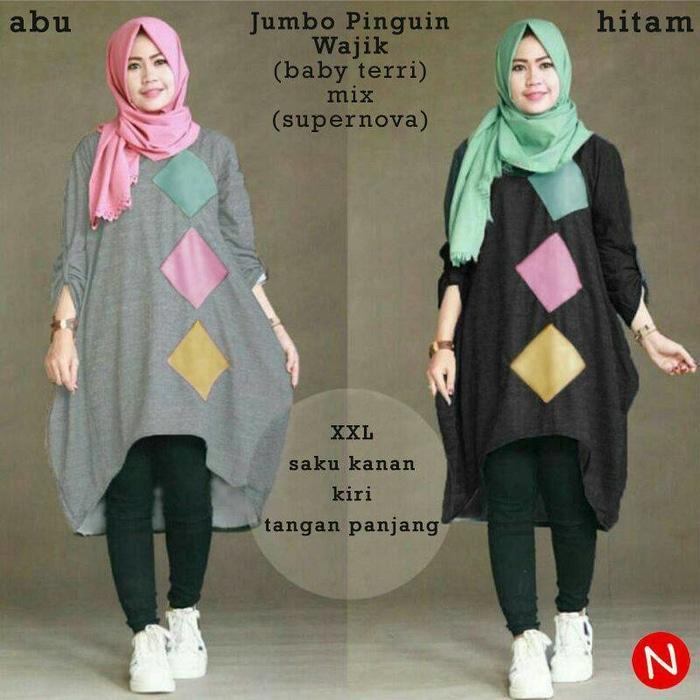 53361 jumbo pinguin wajik/baju tunik jumbo/atasan muslim wanita jumbo/Baju Muslim Wanita/Baju Muslimah/Atasan Mualim Wanita/Baju Tunik Jumbo/Pakaian Wanita/Baju Perempuan/Pakaian Perempuan