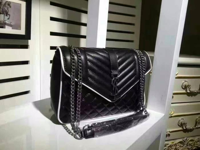 TAS WANITA YSL LAMBSKIN FLAP BLACK HIGH QUALITY ORI LEATHER - xISxhf