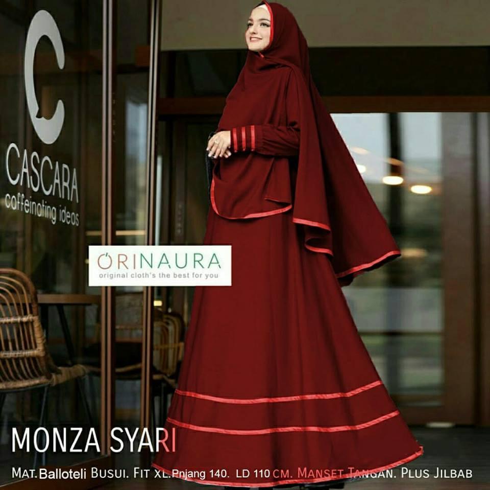 COUPLELOVER- MUSLIM WEAR  BUSANA MUSLIM MONZA (LIST PITA VELVET) -XXL SYARI  MAXI WANITA  MAXI DRESS   HIJAB FASHION LONG DRESS MUSLIM