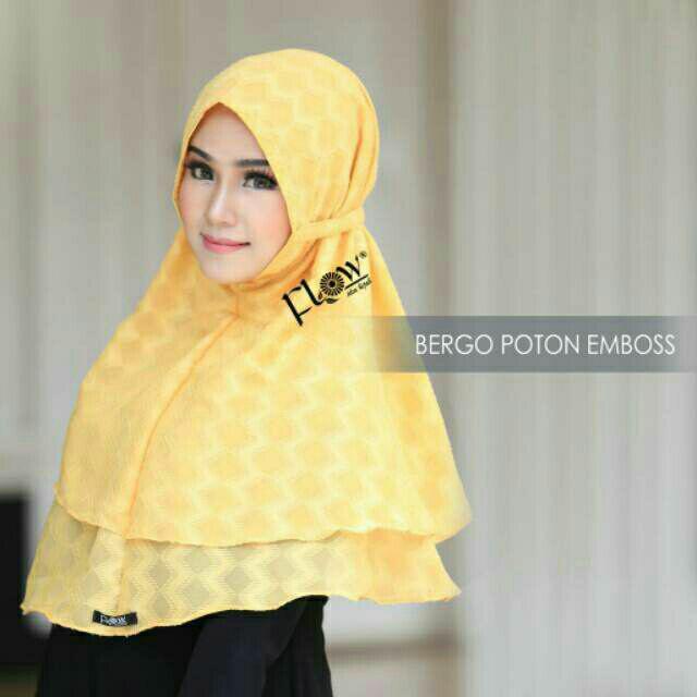 Jilbab instan Bergo Poton Emboss (kuning)  Ori Flow idea hijab kerudung bergo daily bestseller
