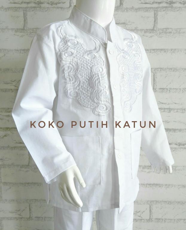 〘LaNGSung dIStRiBUtoR〙 (1-3T) Baju Setelan Koko Putih Anak Batita Bahan Katun Bordir 1-3 Thn