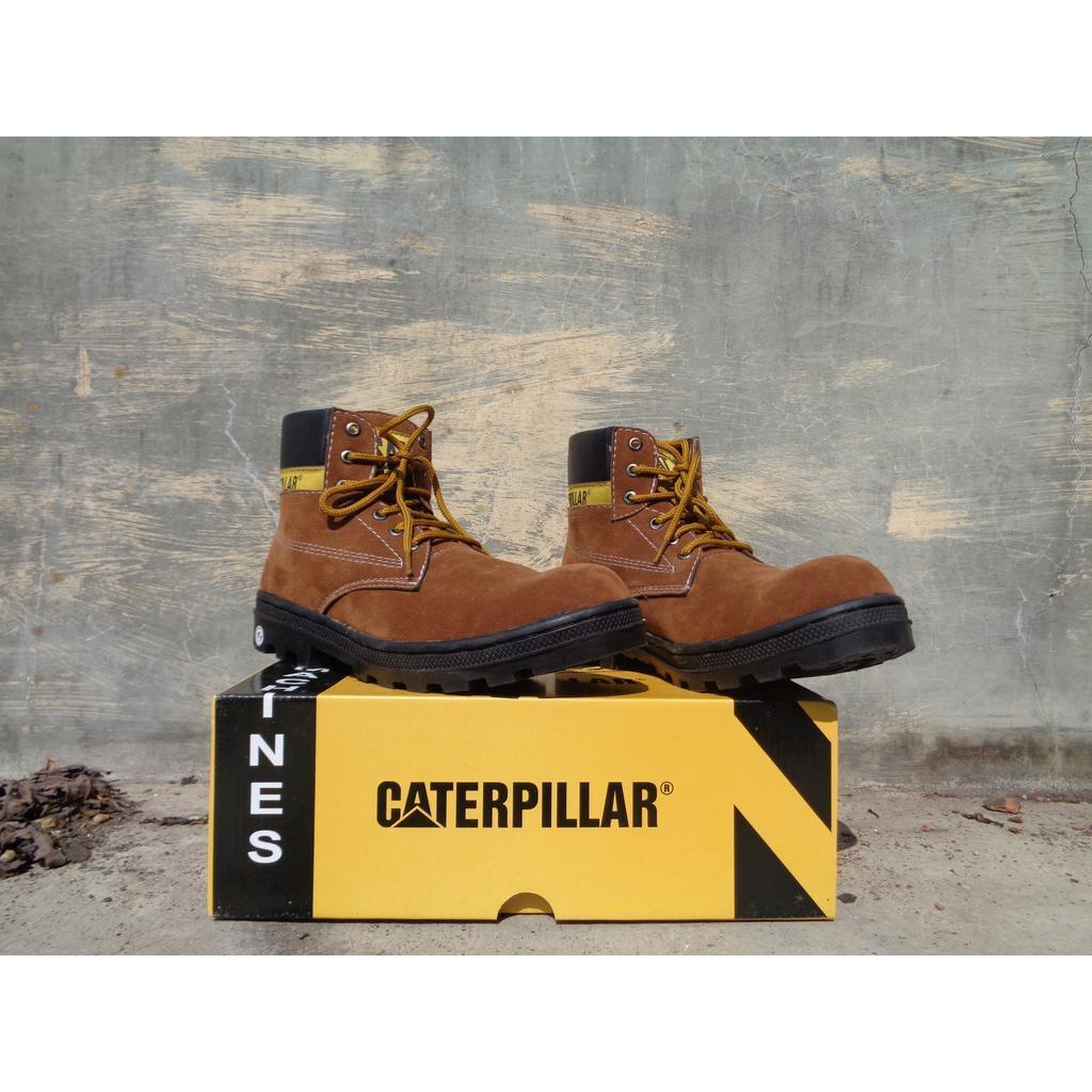 Kelebihan Sepatu Pria Caterpillar Safety Boots Bahan Suede Terkini Low Detail Gambar Terbaru
