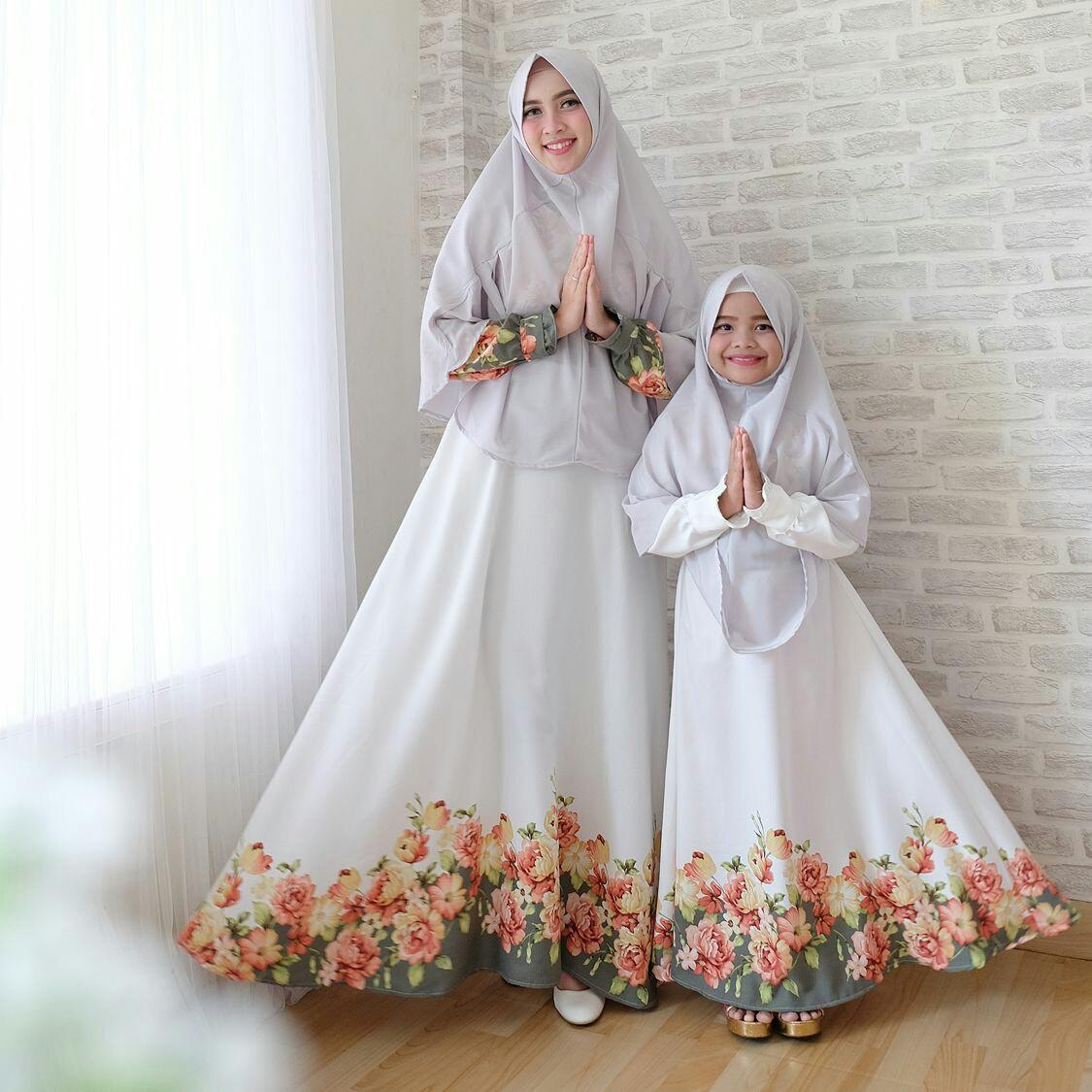 JC - Baju Couple Ibu Dan Anak Syari Lisa Family Mom & Kid  Family Terbaru