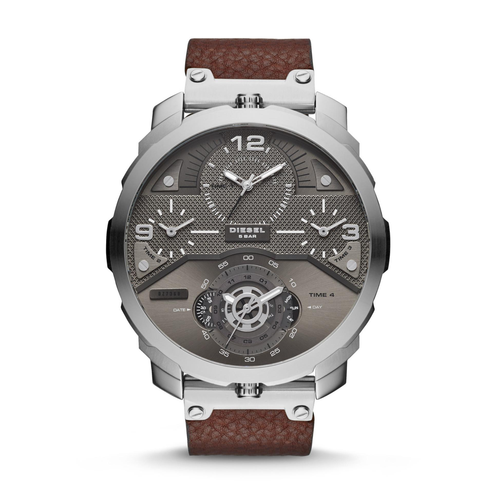 Diesel SBA Machinus - Gray Round Dial 55mm - Leather Strap - Dark Brown - Jam Tangan Pria - DZ7360 - SL