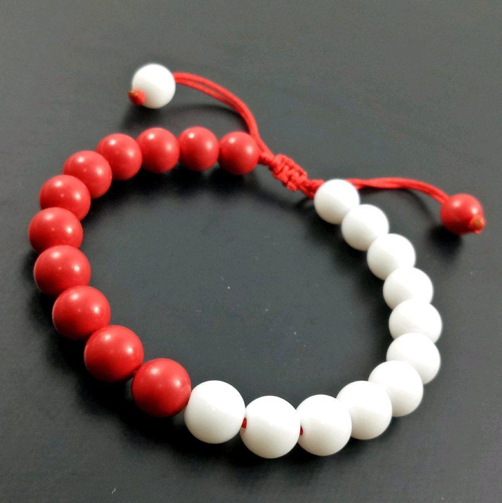 Terbaru Dan Pertama Gelang Tali Batu Merah Putih Dim 8 Mm Model Shambala Sangat Trendy Dan Indonesia Banget