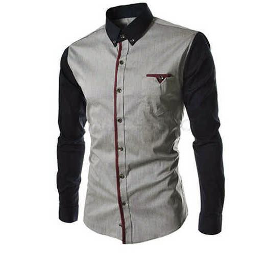 (JNH Shop)  Kemeja Pria Silver Combi Lengan Black (N354 Executive Silver)