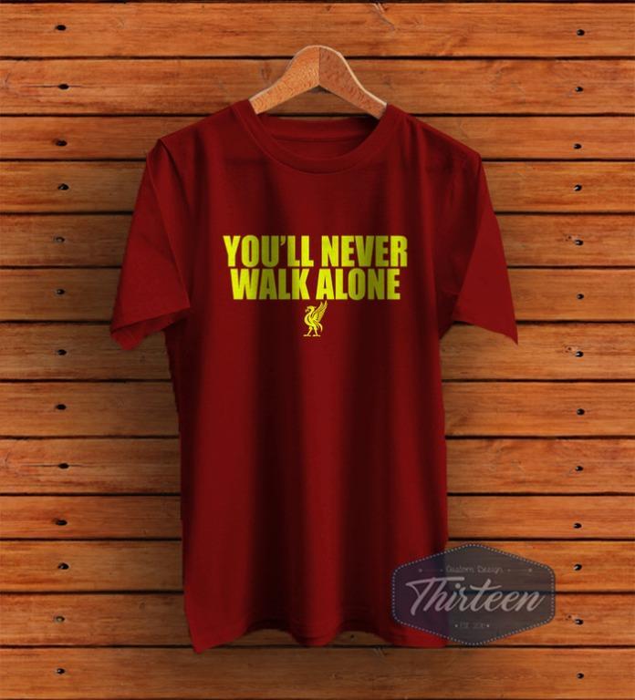 Kaos Original Baju Bola Liveerpool You'll Never Walk Alone Kualitas Distro - Maroon