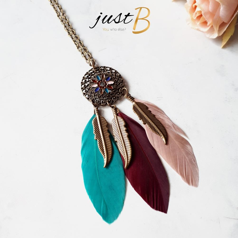 Kalung Bohemian Vintage Dream Catcher Feather Hijab Etnik