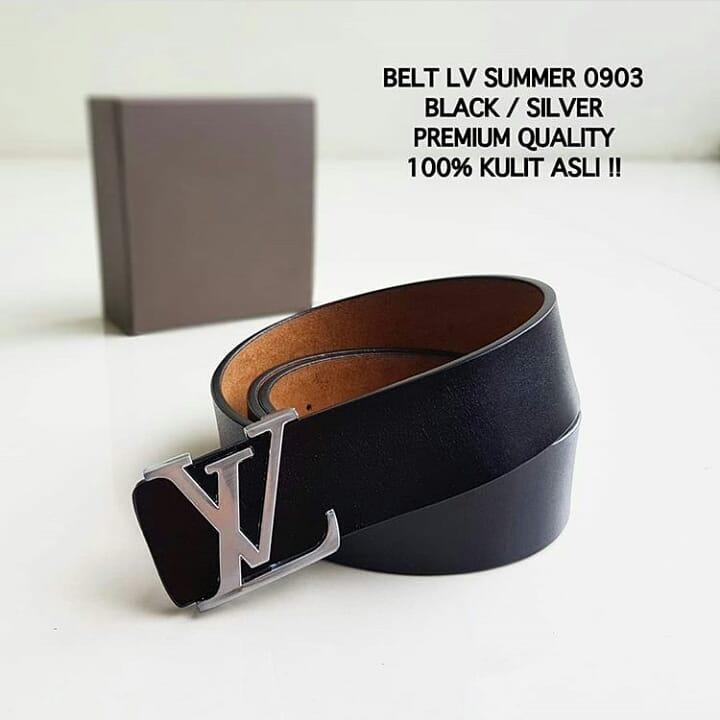 ikat pinggang LV summer 0903 Black logo silver