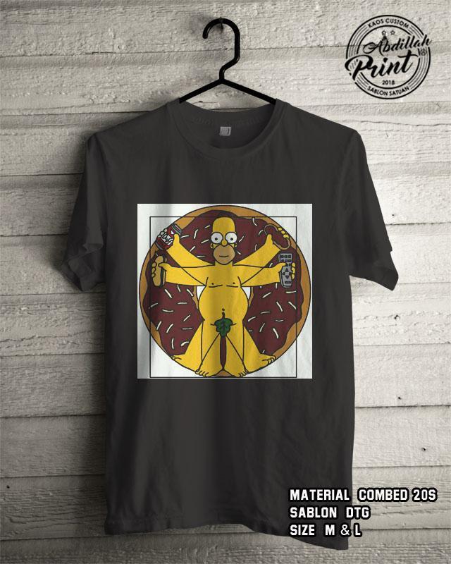 Kaos Distro Custom Design T Shirt Casual Atasan Pria Wanita Cotton Combed 20s Sablon DTG Quality Export - The Simpson 2 - Black