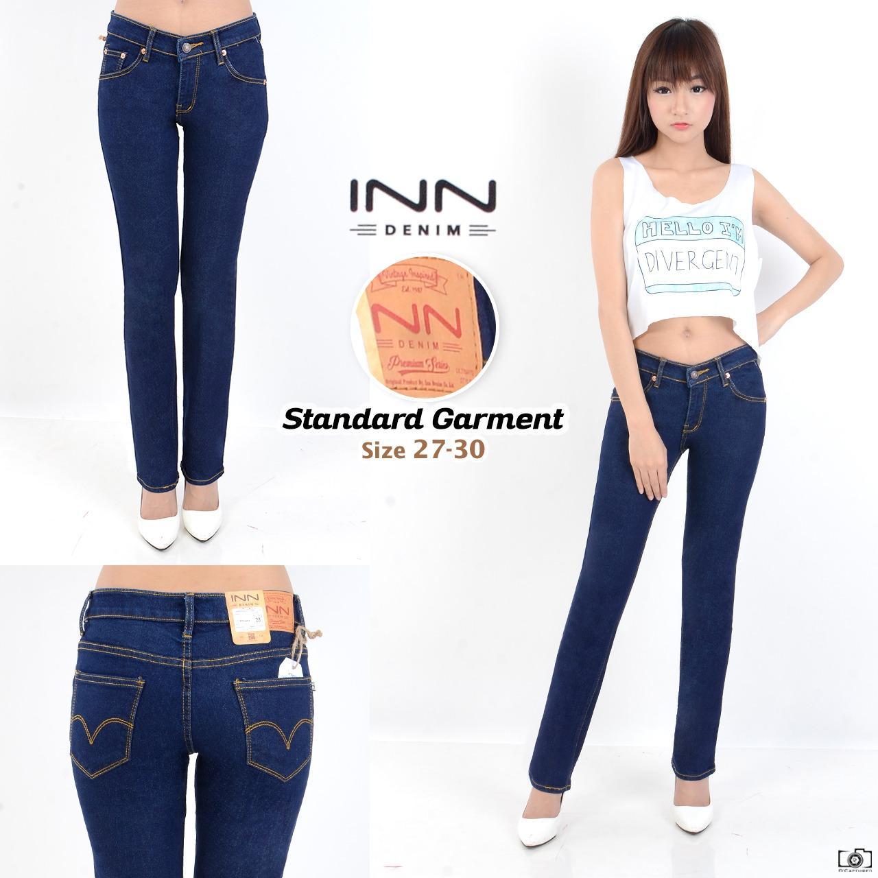 Nusantara - Celana Wanita Standar - Celana Wanita Cubray Straigh Bahan Soft Jeans Repeat Bahan Bagus Murah Jahitan Rapi Resleting Kuat - Biru Dongker