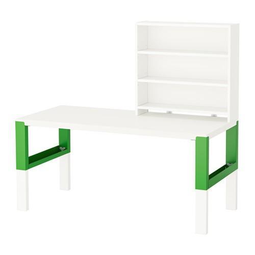 IKEA PAHL Meja Belajar Anak Dg Rak Tinggi Dpt Disesuaikan- Putih Hijau NEW