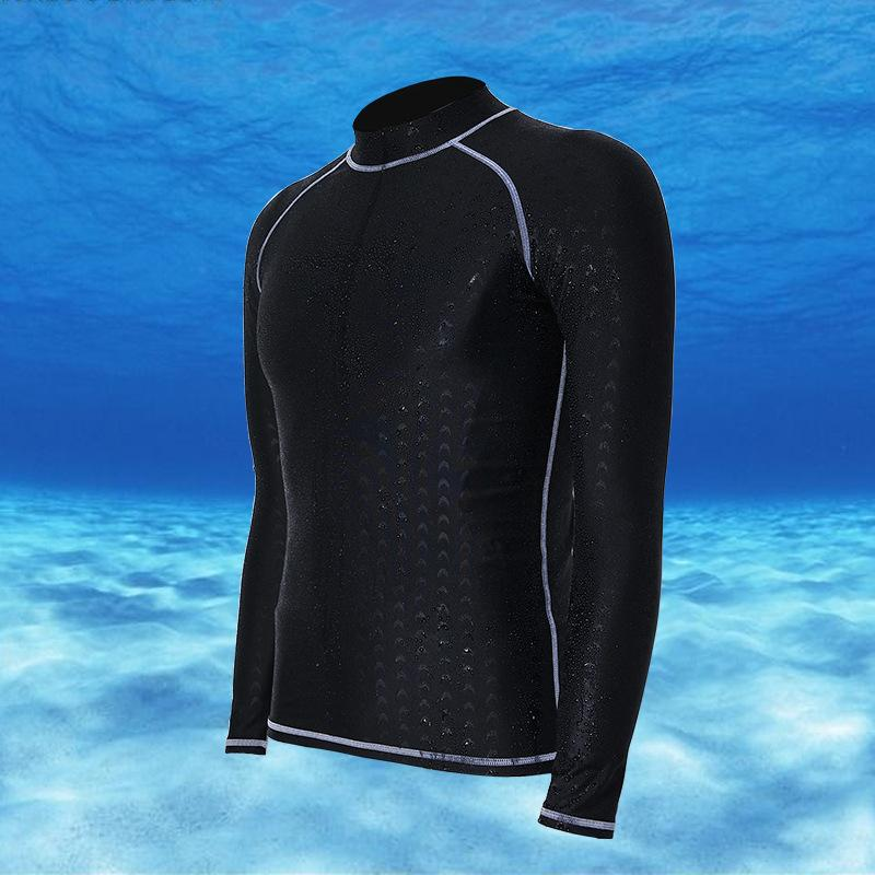 Pudding Men and Women Long Sleeve Diving Suit Tops Sunscreen Swimming Suit Waterproof Swimsuits Top Quick