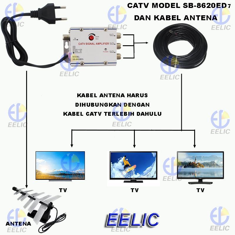 Detail Gambar EELIC CSA-8620ED7 MIX PENGUAT SINYAL 20 dB CATV SIGNAL AMPLIFIER TV BROADBAND 1 INPUT 3 OUTPUT BOOSTER INDOOR 2 Watt TELEVISI MIX + KAA-10M ...