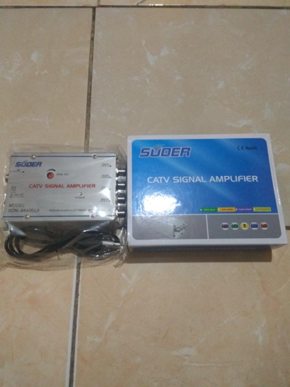 Splitter Catv Signal Amplifier Merek Suoer 4Way / 4 Cabang + Penguat Sinyal  Kualitas Terbaik Di Kelasnya