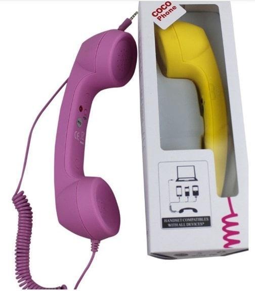 Cocophone Headset Anti Radiasi Hp Laptop Model Gagang Telepon - KSY107 - Pink