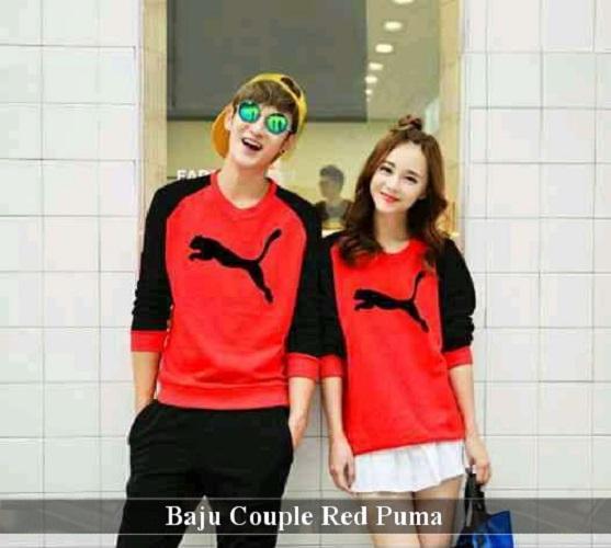 LenganPanjang Baju Couple Lengan Panjang Kaos Kapel Keren Red Puma
