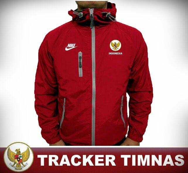 Jaket Tracker Waterproof Windbreaker Timnas Garuda Indonesia