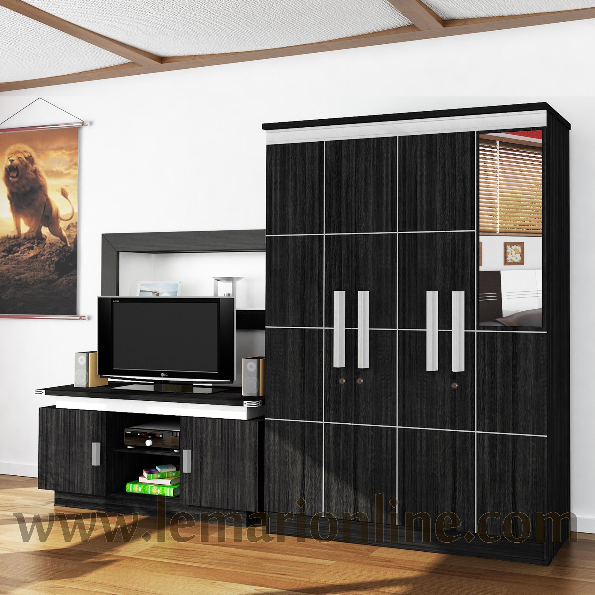 Graver Furniture Lemari Pakaian 3 Pintu Cermin & Meja TV (Paket Ekonomis)