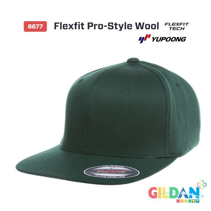6677 Flexfit Pro-Style Wool [Topi hip-hop Snapback Yupoong Original] Terlaris di Lazada