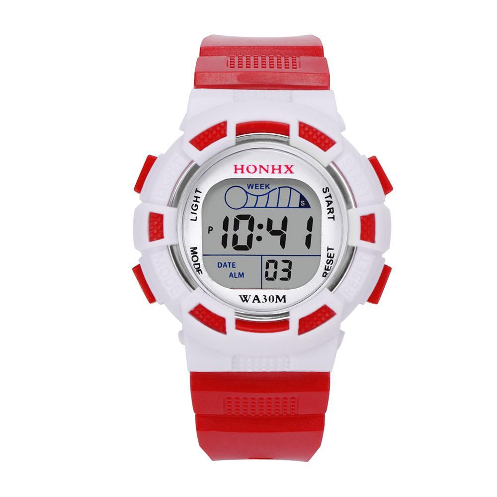 HONHX ยี่ห้อกันน้ำเด็กเด็กชายดิจิตอลนำกีฬานาฬิกาเด็กปลุกวันที่นาฬิกาของขวัญสุภาพสตรีนาฬิกาข้อมือนาฬิกา - สนามบินนานาชาติ