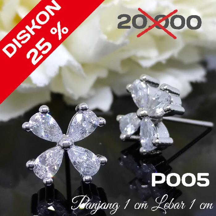 Anting Giwang Zircon Putih Lapis Emas 18 K Perhiasan XUPING  P5