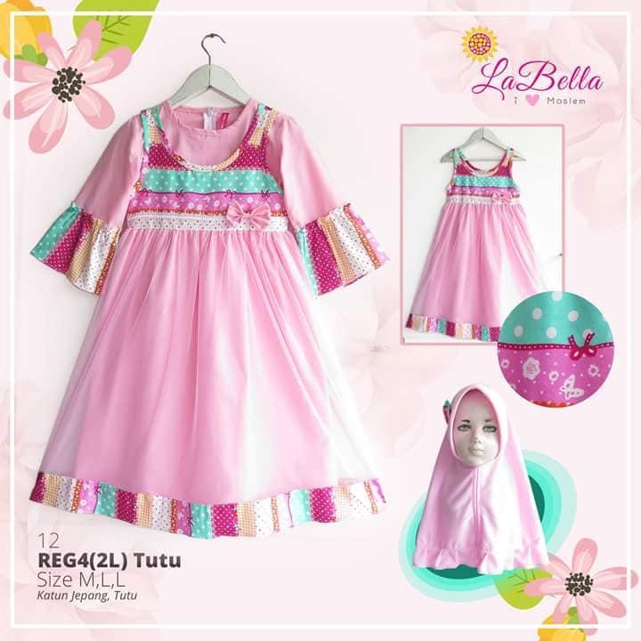 Gamis Anak 3-6th LaBella Katun Jepang Tutu Pink Gamis Pesta Anak Gamis Anak Terbaru