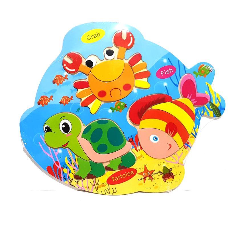 Kayla Org Mainan Edukasi Puzzle 3 in 1 Hewan Laut