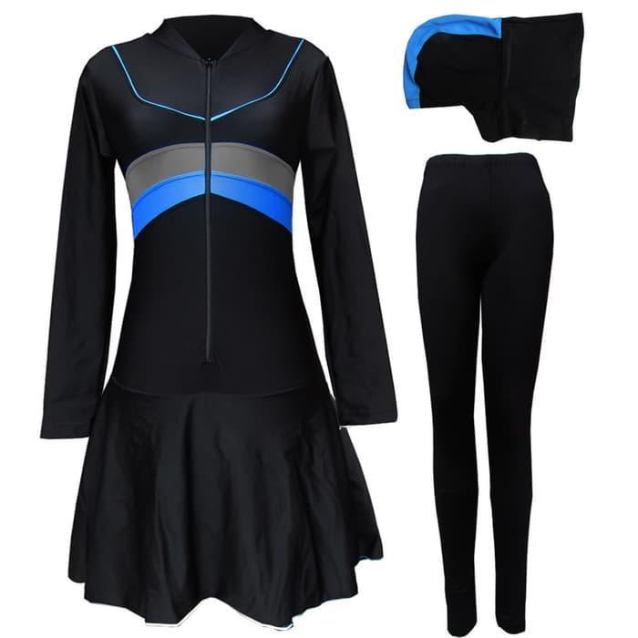 Baju Renang Muslimah Bahan Lycra Premium Motif Polos 1b5bfcfc76