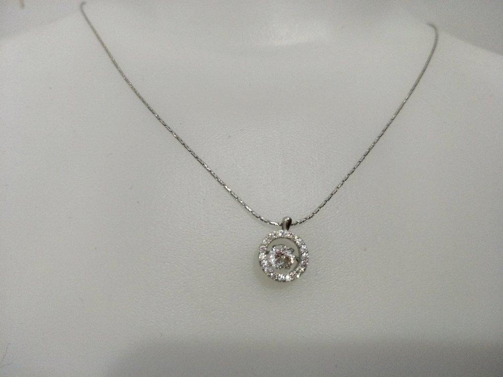 Paket Kalung Emas Asli Kadar 750 Emas Putih Zirkon Dancing Stone