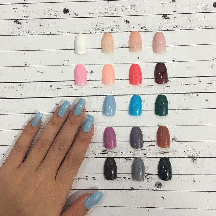 24 Tips colored coffin fake nails - kuku palsu warna best seller - kuku palsu warna