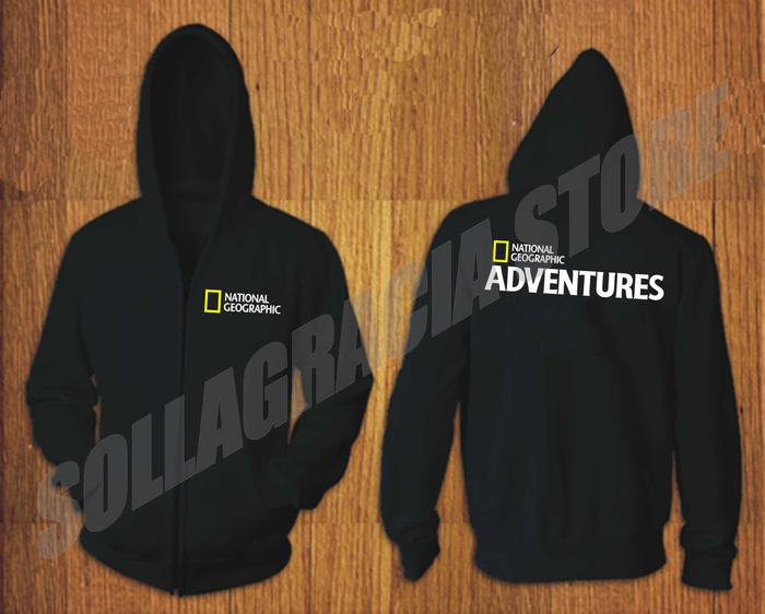JAKET SWEATER HOODIE ZIPPER NATIONAL GEOGRAPHIC ADVENTURES HITAM