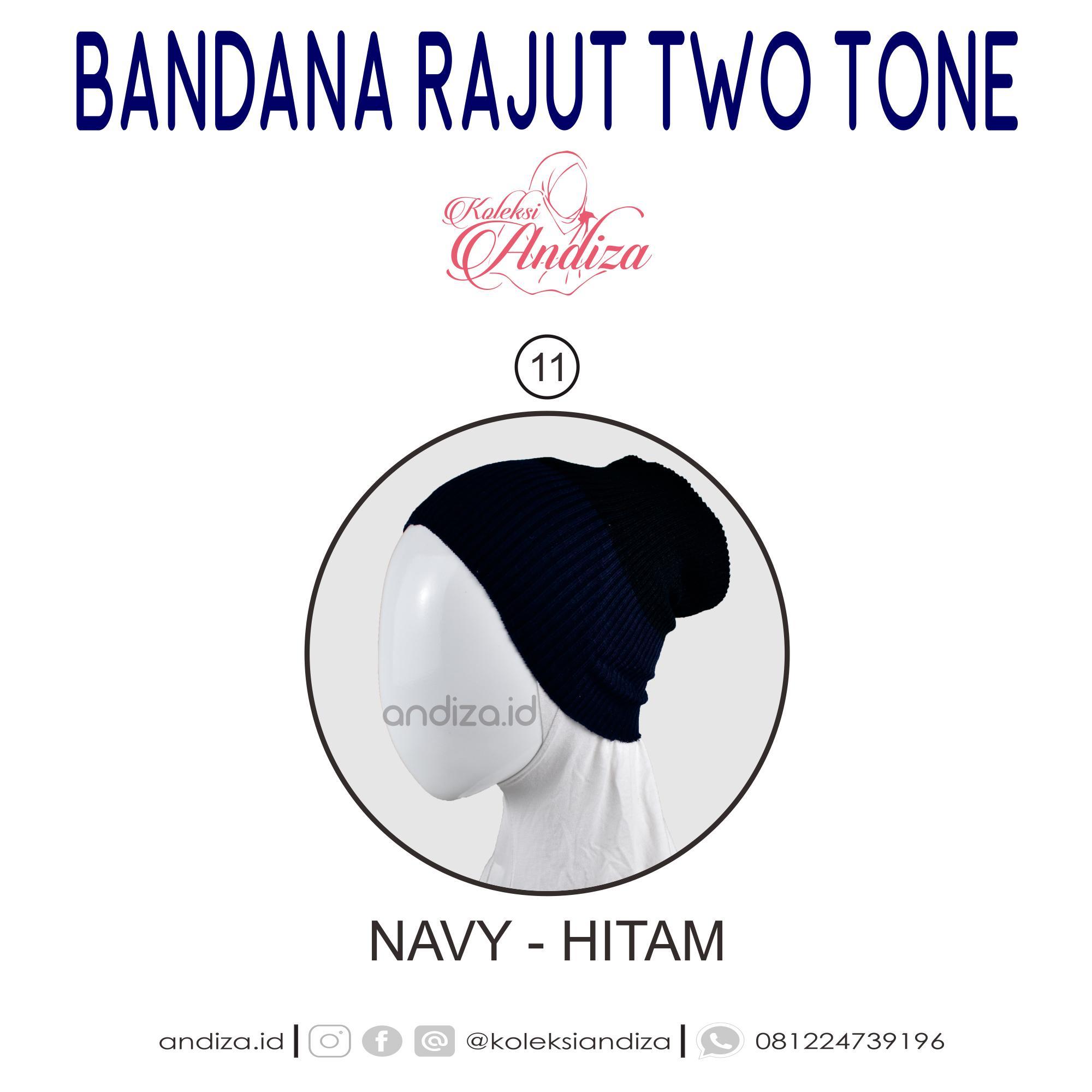 andiza - Bandana rajut two tone - satu ciput isi 2 dua warna - lebih hemat nyaman dan berkualitas
