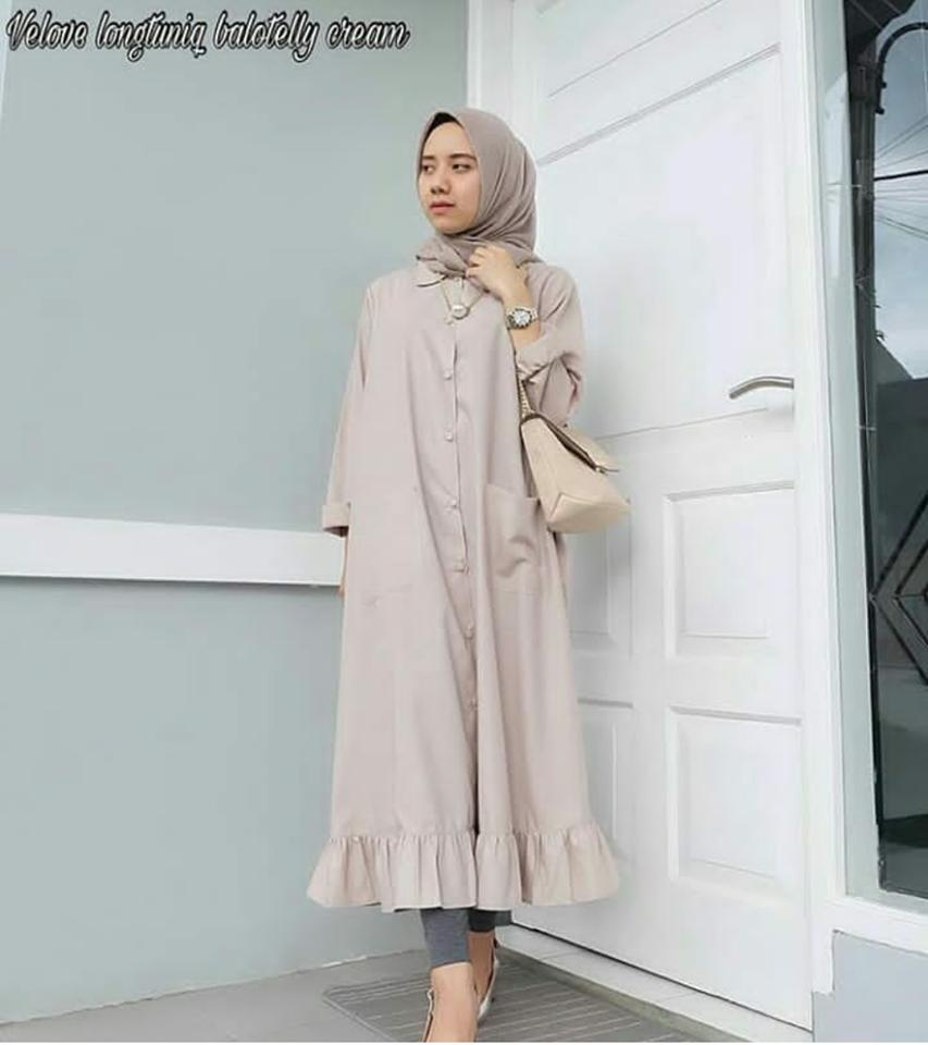 Ria_Store SY176 Velove Long Tunic Cream // Busana Muslim Wanita SY176 Velove Long Tunic Cream // Maxi Dress / Dress Maxi Tunik / Maxi Muslim / Dress Muslim / Busana Muslim / Baju Muslim / Hijab Fashion / Hijab Style - Hight Quality