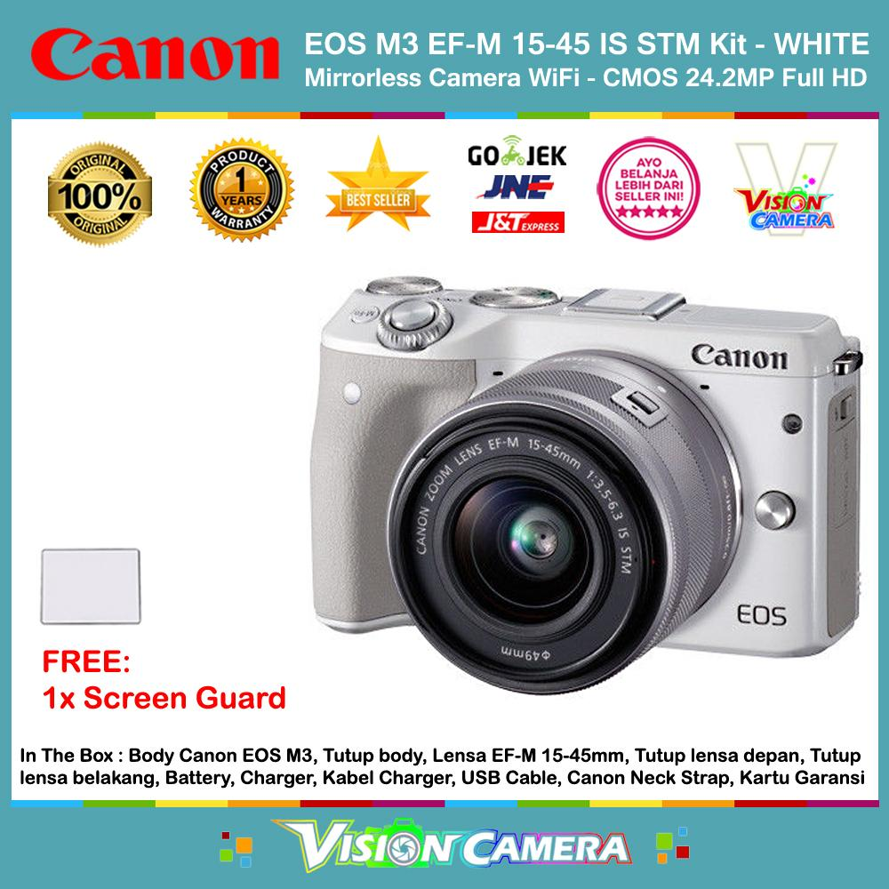 CANON EOS M3 EF-M 15-45 IS STM Kit Kamera Mirrorless M3 CMOS 24.2MP Full HD 1080p 49 AF Points (Garansi 1th) + Screen Guard