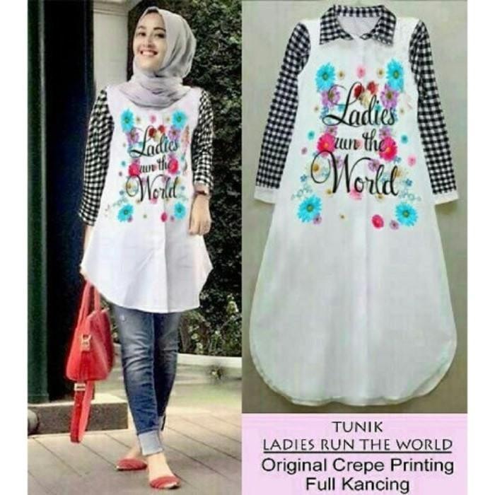 Vshop91jkt - tunix Ladies Tunik Kotak Baju Muslim Kemeja Kotak Kemeja Kerja Baju Muslimah Atasan Muslimah Pakaian Muslim Dress Muslim Kemeja Kerja Kemeja Polos Kemeja Wanita Baju Santai Blus Korean Style Blouse wanita Modern BajuTunik Polos Blus Wanita