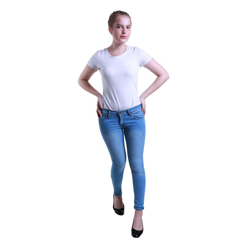 ... Nusantara - Celana Jeans Wanita Model Skinny Basic - IIN Denim Ritsleting Ripped New Color Denim